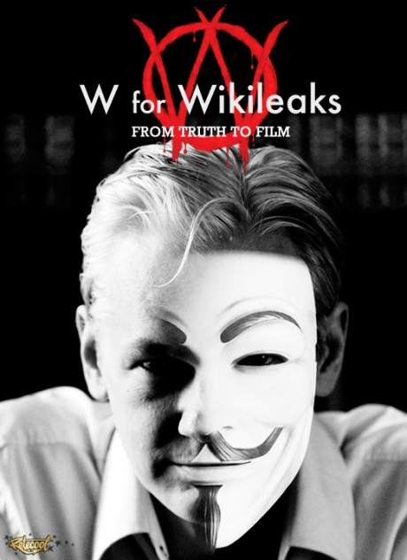 Julian Assange with V For Vendetta mask